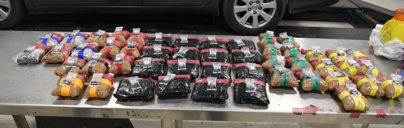Packages containing 58 pounds of heroin seized by CBP officers at Laredo Port of Entry