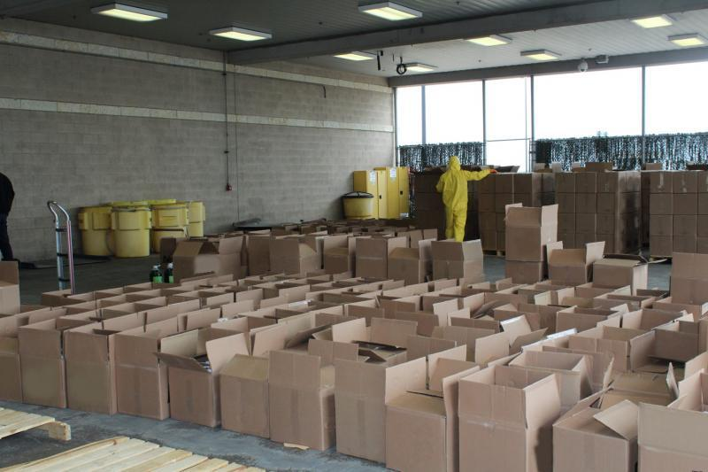 Boxes of cleaning solution containing a total of 615 pounds of methamphetamine seized by CBP officers at Pharr International Bridge