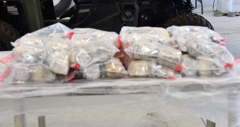 Packages containing 68.69 pounds of methamphetamine seized by CBP officers at Laredo Port of Entry.