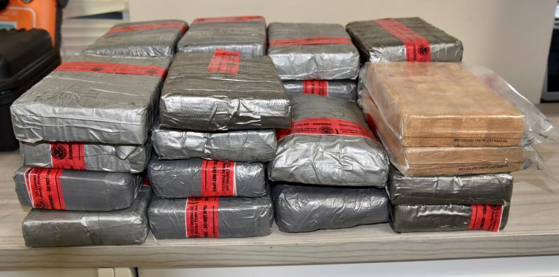 Packages containing 74 pounds of cocaine seized by CBP officers at World Trade Bridge
