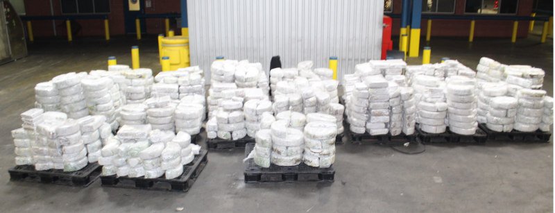 Packages containing 7,704 pounds of marijuana seized by CBP officers at World Trade Bridge