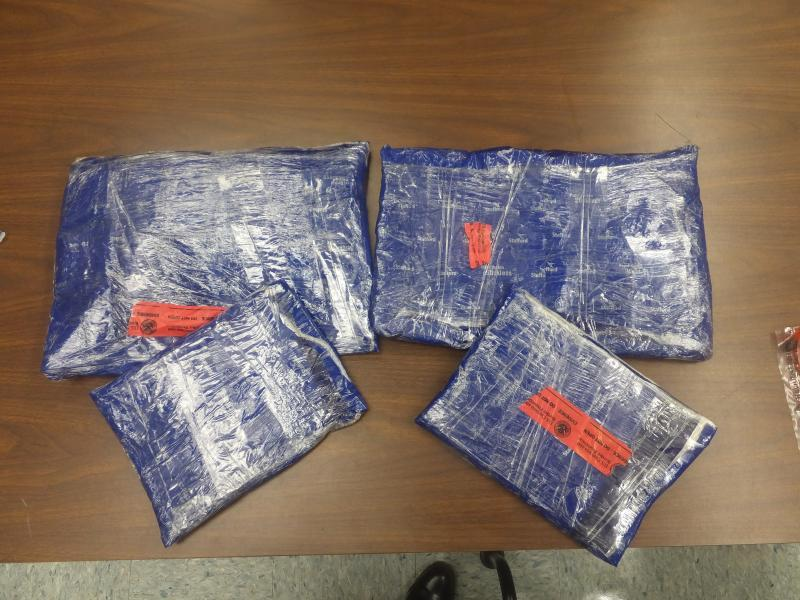 Packages containing seven pounds of methamphetamine seized by CBP officers in Laredo, Texas.
