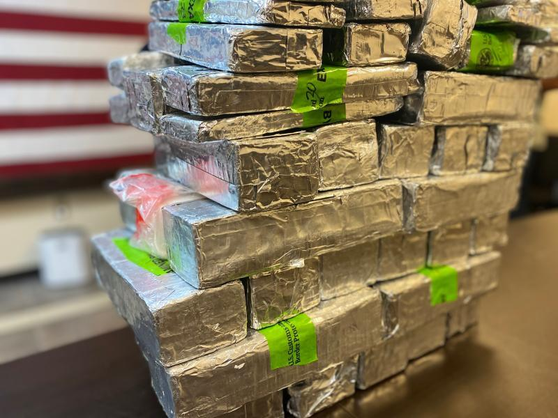 Packages containing 96 pounds of methamphetamine seized by CBP officers at Starr-Camargo International Bridge
