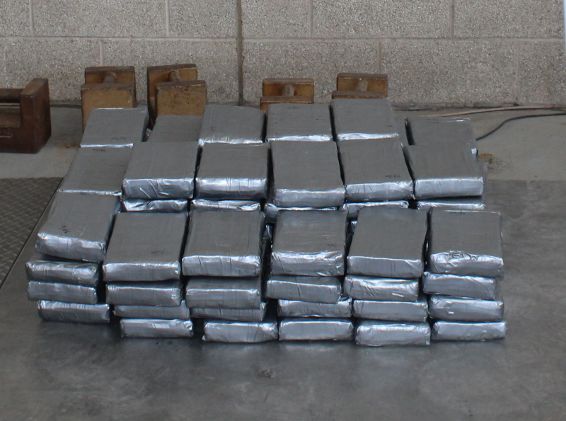 Packages containing 199.5 pounds of cocaine seized by CBP officers at Pharr International Bridge