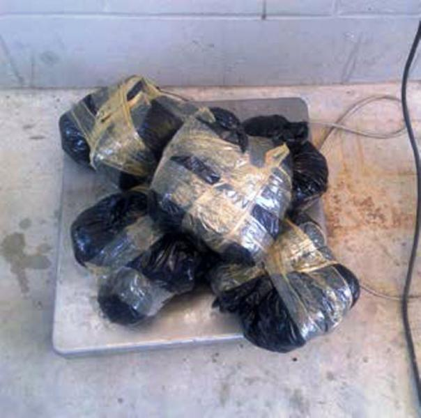 bundles containing nearly 14 pounds of methamphetamine seized by CBP officers in Anzalduas, Texas