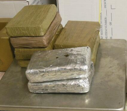 Packages containing 18.65 pounds of cocaine seized by CBP officers at Brownsville Port of Entry, one of three drug seizures effected by Brownsville CBP officers in the same day