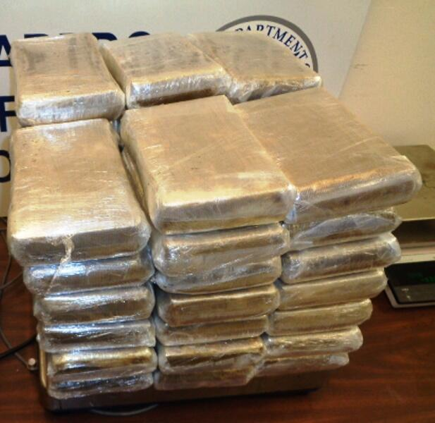 Packages containing 109 pounds of cocaine seized by CBP officers at the Hidalgo International Bridge