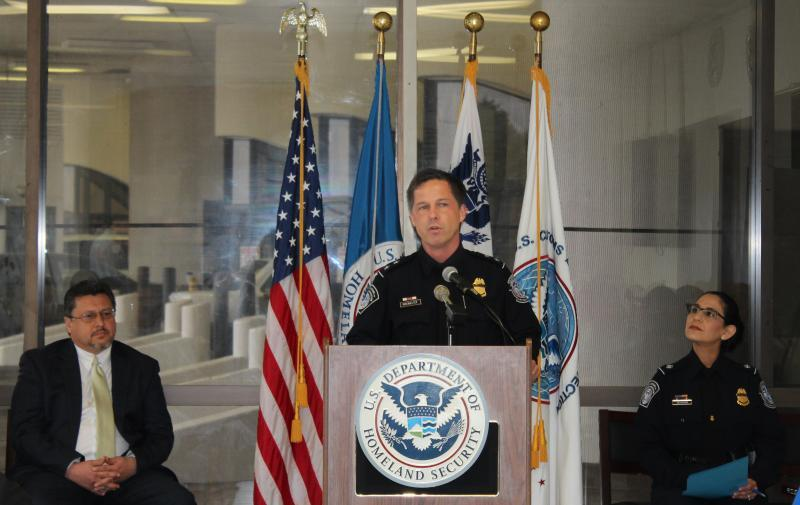 CBP Laredo Port Director Joseph Misenhelter briefs media and bus industry stakeholders regarding the rollout of first in the nation bilingual videos to familiarize arriving bus passengers with CBP processes and entry requirements
