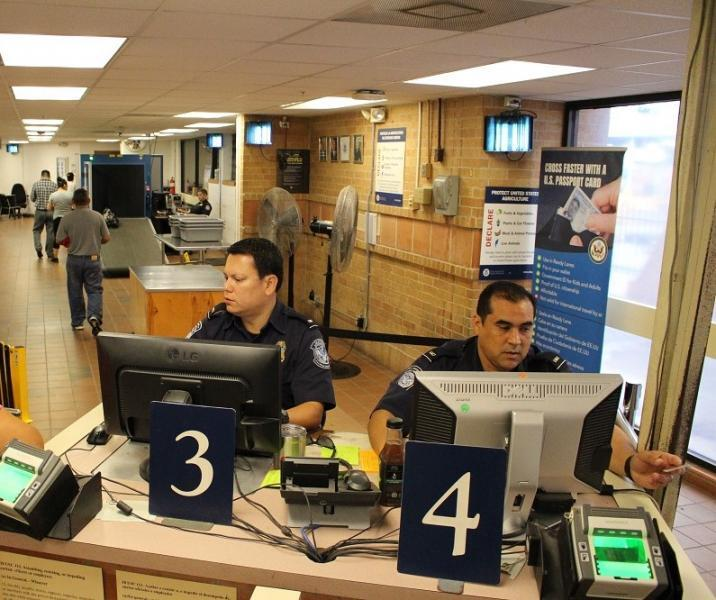 CBP officers conduct primary examinations at the Hidalgo International Bridge pedestrian walkway