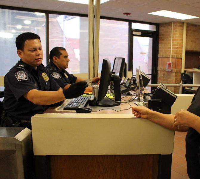CBP officers process ariving pedestrians at Hidalgo International Bridge