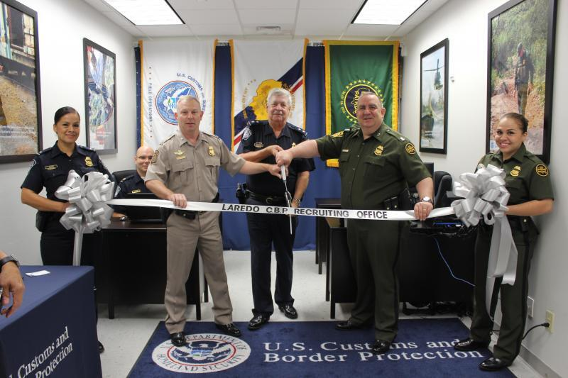 Leadership from CBP's Air and Marine operations, Laredo Field Office and Laredo Sector Border patrol participate in a ribbon cutting for the CBP Laredo Recruitment Office