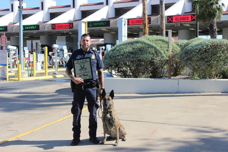 CBP Officer (Canine) Joseph Mills earned first place  in the United Independent School District Police Department K9 team competition.