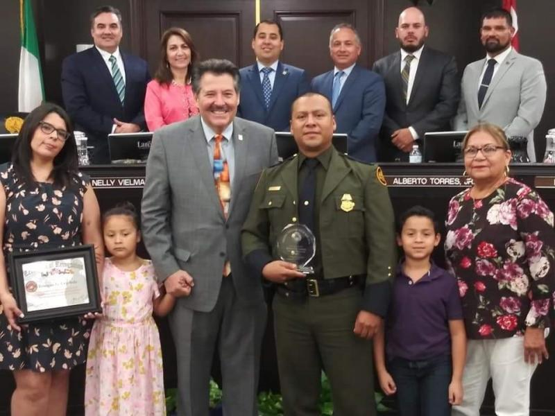 Border Patrol Benigno Cepeda is recognized by Lareod Mayor Pete SAenz and Laredo City COuncil as Veteran of the Month at a recent City Council meeting.