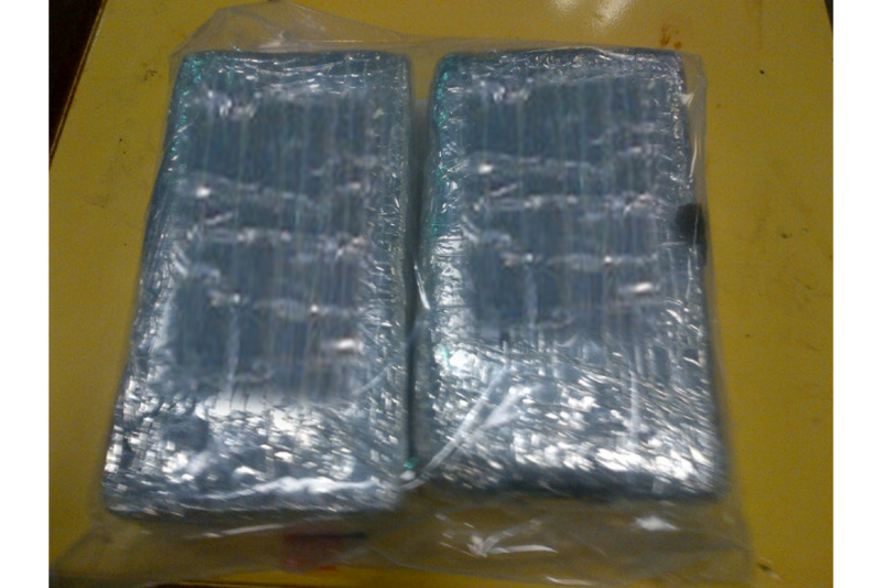 Bundles containing 4.6 pounds of cocaine seized by CBP officers at Brownsville and Matamoros International Bridge