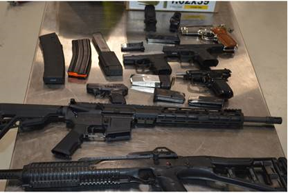 CBP officers seized a variety of firearms and ammunition during an outbound examination at Gateway to the Americas Bridge in Laredo