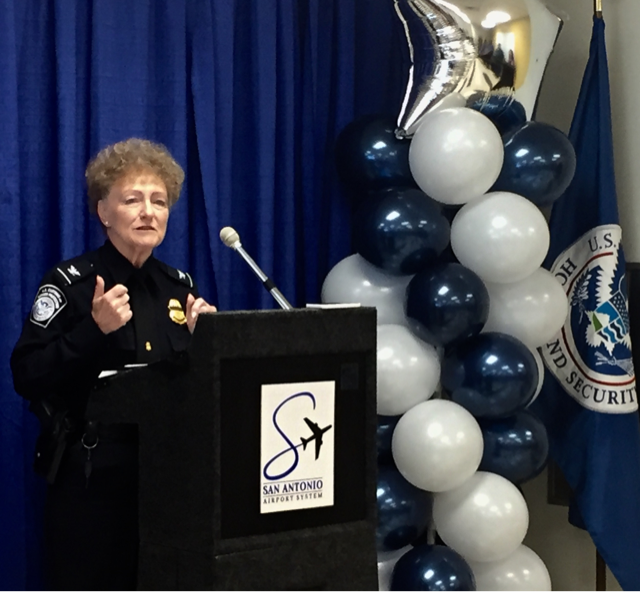CBP San Antonio Port Director Lois Hunter speaks at the dedication of the General Aviation Facility at San Antonio International Airport