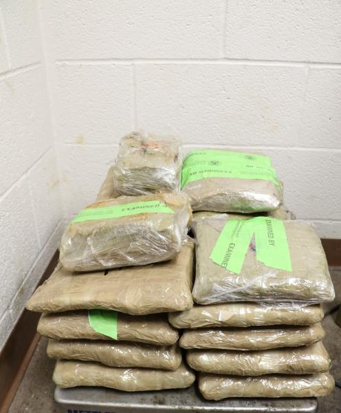 Packages containing 48 pounds of methamphetamine seized by CBP officers at Brownsville Port of Entry.