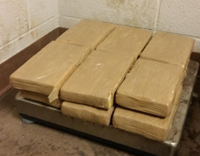 Packages containing 27.82 pounds of cocaine seized by CBP officers at Brownsville Port of Entry