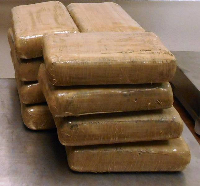 Packages containing 32 pounds of cocaine seized by CBP officers at Hidalgo/Pharr/Anzalduas Port of Entry