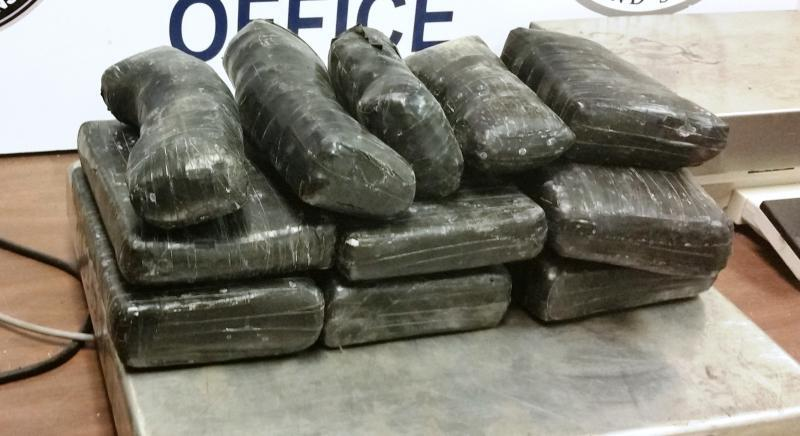 Packages containing a total of approximately 20 pounds of cocaine seized by CBP officers at Hidalgo International Bridge