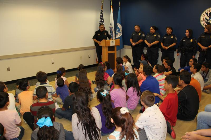 PD Solis addresses children of CBP officers at Bring Your Child to Work event at Hidalgo Port of Entry