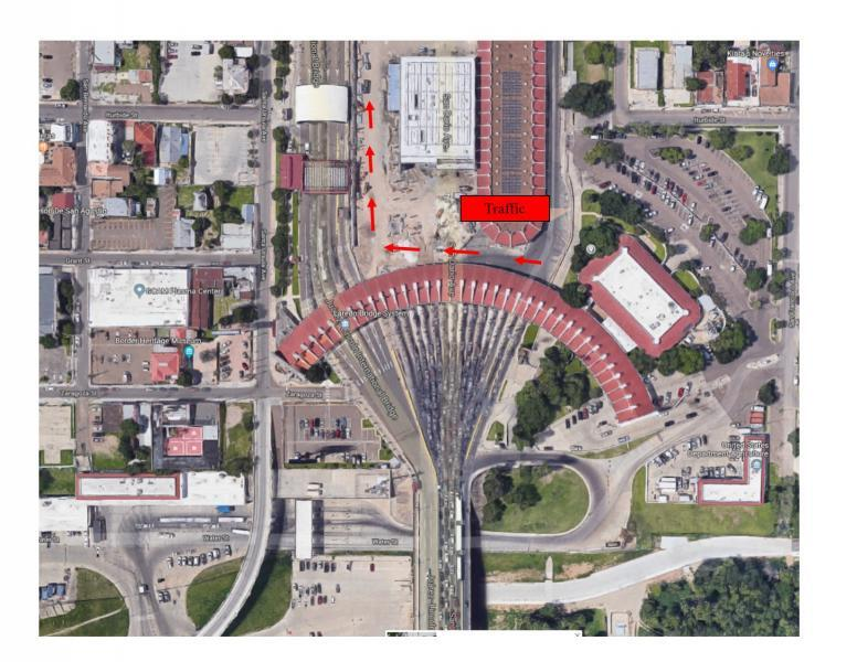 A diagram of Juarez Lincoln Bridge shows the westward shift of traffic flow that takes effect at 12:01 a.m. on May 7