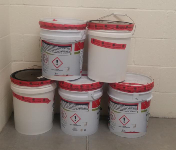 Buckets containing liquid methamphetamine seized by CBP officers at Juarez-Lincoln Bridge