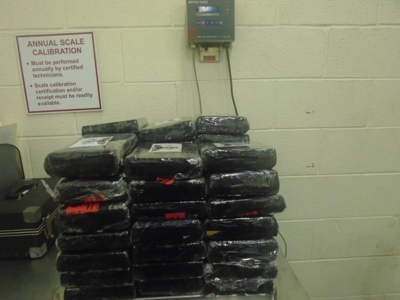 Packages containing 106 pounds of cocaine seized by CBP officers at World Trade Bridge.