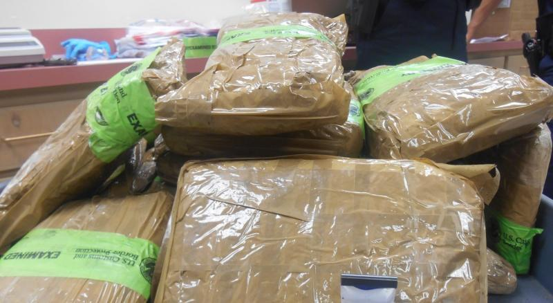 Packages containing 32.76 pounds of methamphetamine seized by CBP officers at Laredo Port of Entry