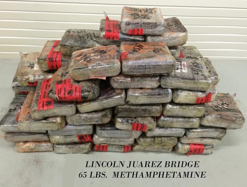 Packages containing 65 pounds of methamphetamine seized by CBP officers at Laredo Port of Entry