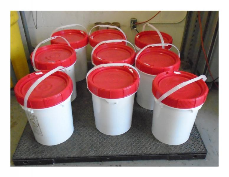 Containers containing 39 pounds of liquid methamphetamine seized by CBP officers at Laredo Port of Entry