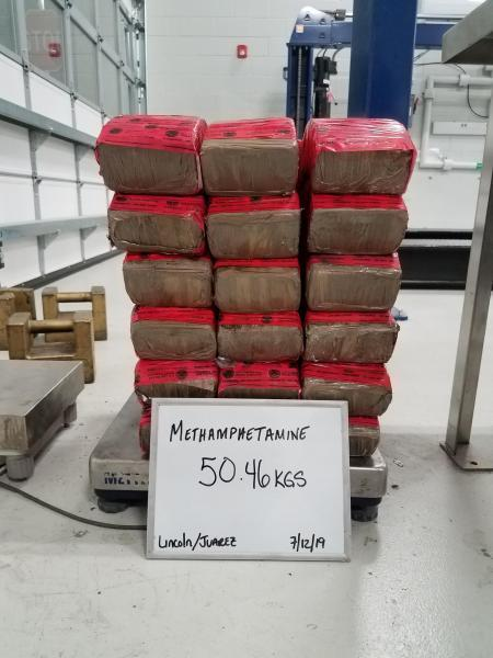 Packages containing 111 pounds of methamphetamine seized by CBP officers at Laredo Port of Entry