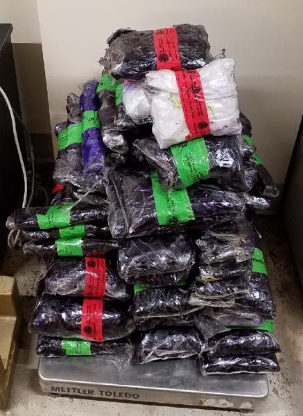 Packages containing 70 pounds of methamphetamine seized by CBP offiers at Laredo Port of Entry