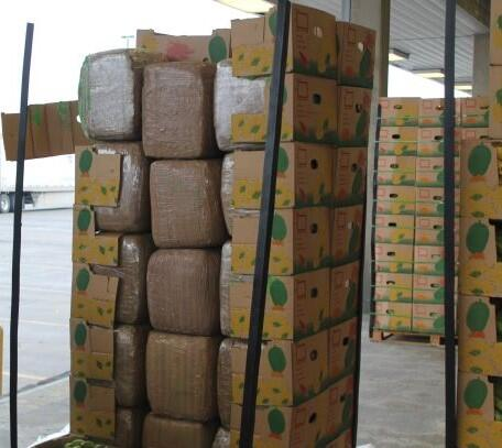 Packages containing 4,616 pounds of marijuana seized by CBP officers at Pharr International Bridge within a shipment of bananas.