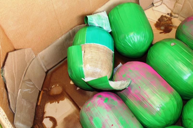 Packages shaped like watermelons containing 3,000 pounds of marijuana seized by CBP officers at Pharr International Bridge