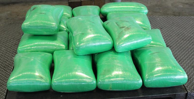 Packages containing 655 pounds of marijuana seized by CBP officers at Pharr Bridge in jalapeño shipment