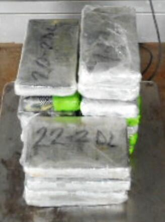 Packages containing 40 pounds of cocaine seized by CBP officers at Pharr International Bridge