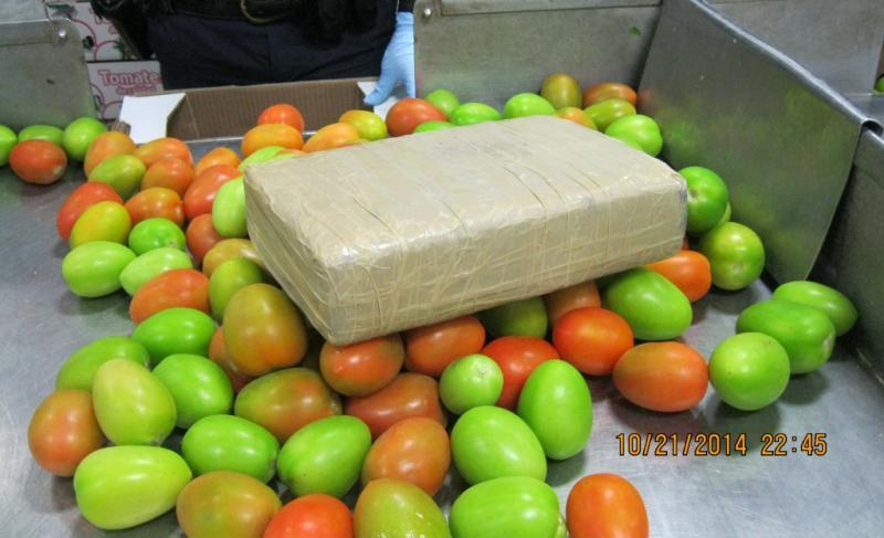 This package is part of a load of 1,940 pounds of marijuana found by CBP officers in Pharr in a commercial shipment of tomatoes.