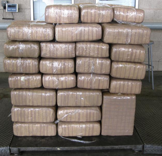 Bundles containing 685 pounds of marijuana seized by CBP officers at Pharr International Bridge