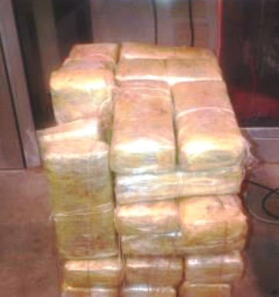 bundles that contain 168 pounds of marijuana seized by CBP officers at Pharr International Bridge