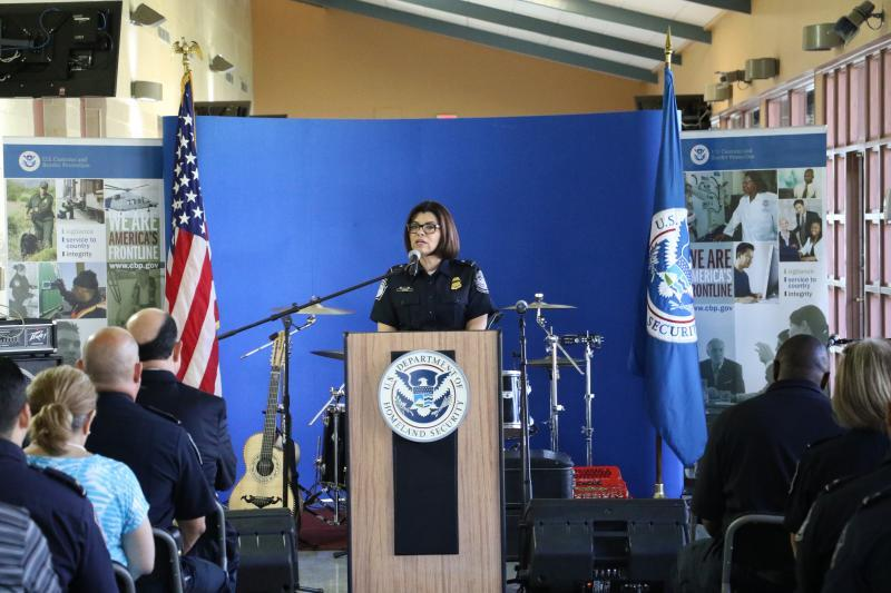 Port Director Petra Horne delivers welcoming remarks during Brownsville Port of Entry's Embracing Diversity event