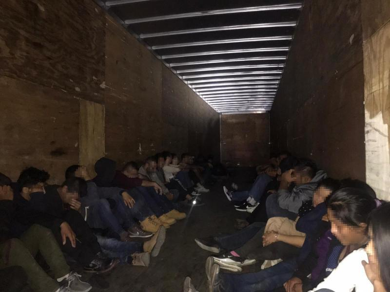 A group of 33 illegal aliens from Mexico, Guatemala, Honduras and China hidden in the back of a tractor trailer discovered by Border patrol agents in collaboration with Laredo Police.