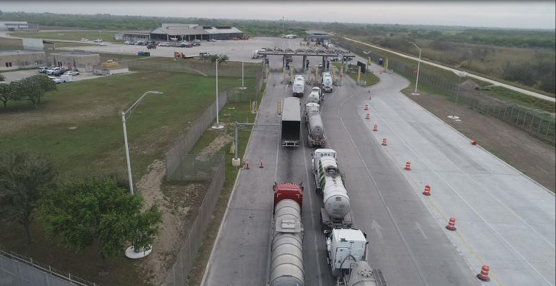 Image dpecits commercial trucks utilizing the previousinbound lanes at Veterans International Bridge