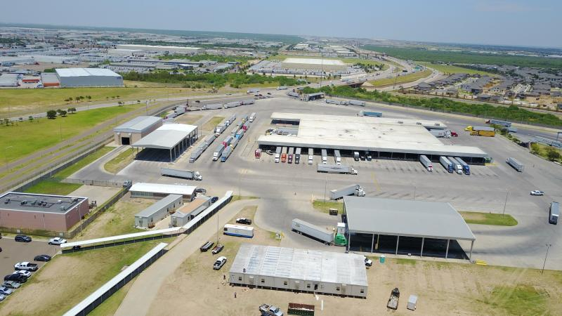 An aerial view of the import lot at World Trade Bridge depicts a temporary modular CBP office building tentatively slated to open on July 5