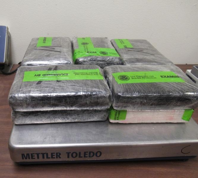 Packages containing 25.5 pounds of cocaine seized by CBP officers at Hidalgo International Bridge