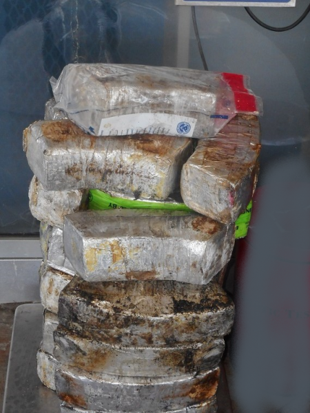 Packages containing 115 pounds of methamphetamine seized by CBP officers at Pharr International Bridge.