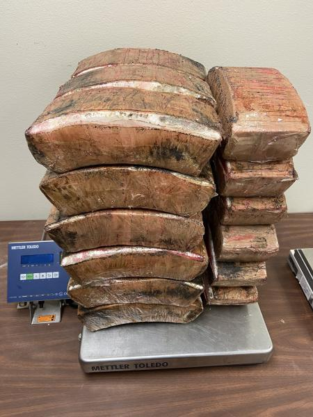 Packages containing 126 pounds of methamphetamine seized by CBP officers at Hidalgo International Bridge