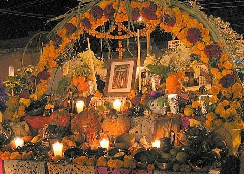 A typical altar used in Día de los Muertos/Day of the Dead celebrations with prohibited agricultural items