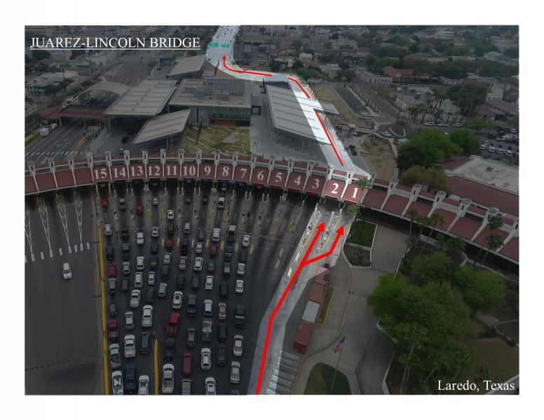 A graphic shows the designated lane at Juarez-LinColn Bridge fanning out to multiple booths