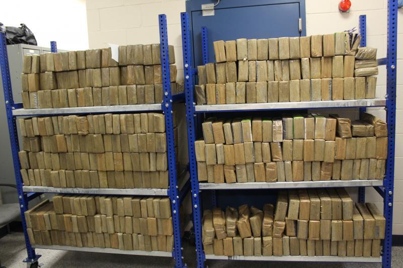 Packages containing nearly 1,050 pounds of methamphetamine seized by CBP officers at World Trade Bridge.